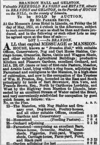 Sale of Brandon Hall, Lincolnshire in 1851
