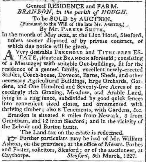 Sale of Brandon Hall, Lincolnshire 1827