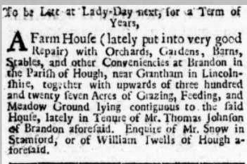 (Probable) advert for Brandon Hall 1728
